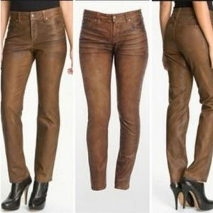 NYDJ brown faux leather look coated jeans size 2 straight high rise